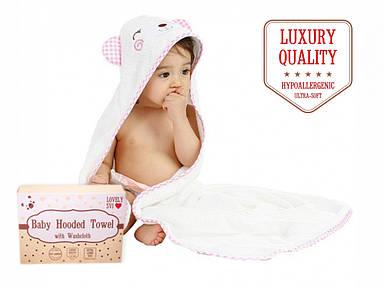 Премиальное Детское Полотенце с Капюшоном для девочек - Полотенце Уголок - Банное Полотенце для Детей