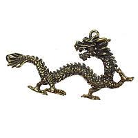 Амулет талісман дракон 3х5,6 см жовта латунь (C1769)