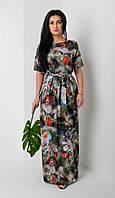 Женское летнее платье/сарафан из легкой ткани под пояс размер 44-46,48-50,52-54