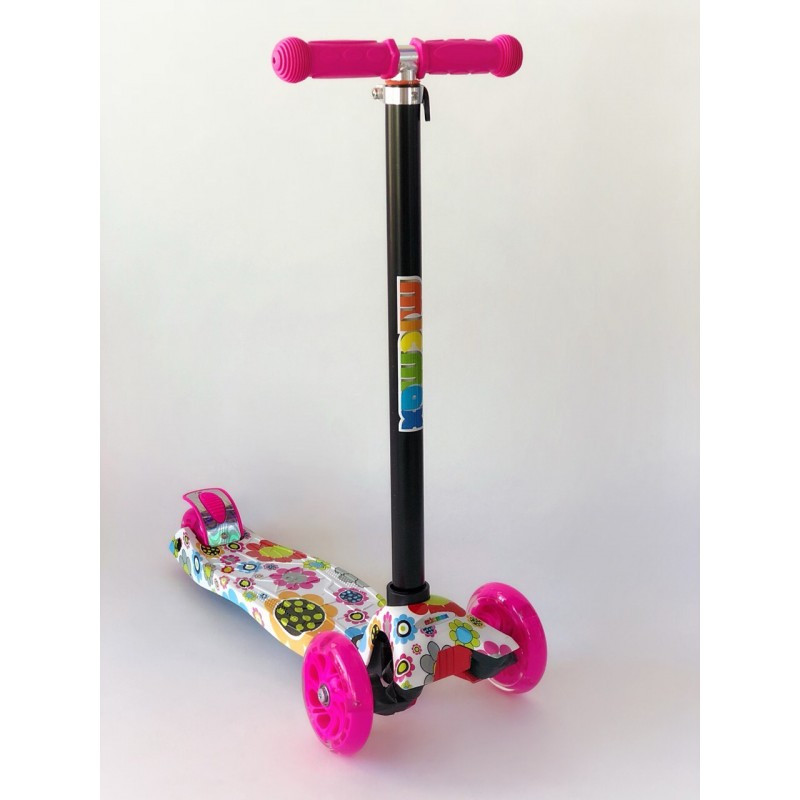 Самокат детский Scooter Pro 030 с подсветкой колес | Розовый