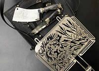 """Необычная сетка-гриль """"Лев"""" 340Х260Х50 с аксессуарами, в чехле из кожи - необычный подарок для мужчины"""