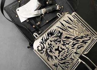 """Необычная сетка-гриль """"Лев"""" 340Х260Х50 с аксессуарами, в чехле из кожи - необычный подарок для мужчины, фото 3"""