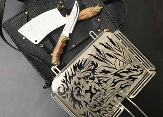 """Необычная сетка-гриль """"Лев"""" 340Х260Х50 с аксессуарами, в чехле из кожи - необычный подарок для мужчины, фото 2"""