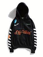 Толстовка Off white x Nike топовая с утеплением чёрная мужская женская худи с капюшоном офф вайт