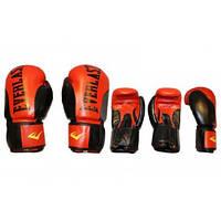 Перчатки боксерские Кожа ELAST BO-6161-R (р-р 10-12 oz, черный-красный)