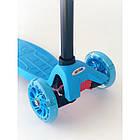 Самокат дитячий Scooter Pro 036 з підсвічуванням коліс | Блакитний, фото 2