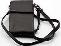 Сумка кошелек для телефона через плечо Grande Pelle, портмоне мужской коричневый кожаный