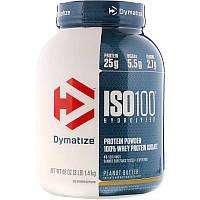 Dymatize Nutrition,ISO 100гидролизованный,100% изолят сывороточного протеина,арахисовое масло,1,4 кг