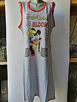 Платье майка женская серое с Микки Маусом  Хлопок 100% Длина 104-107 см Размеры M-XL, 46-52