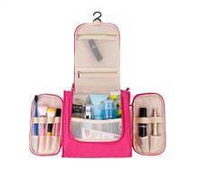 Розовая косметичка-сумка - длина 20,5см, ширина 24см, толщина 10,5см, полиэстер, водонепронецаемая