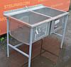Производственная ванна из нержавеющей стали, 2-х секционная 112х65х80 см., Б/у