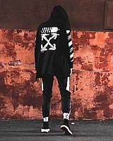 Мантия + штаны Off-White cross black-white / Комплект мужской осенний весенний, фото 1
