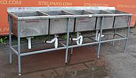 Мойка 5-секционная из нержавеющей стали на металлической основе 245х50х85 см., Б/у, фото 1
