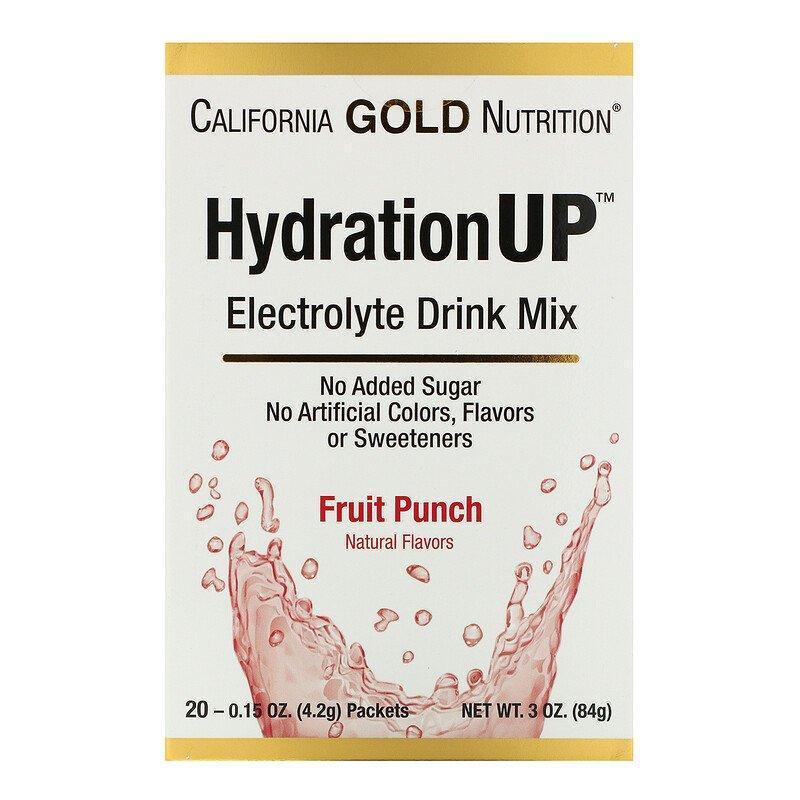 California Gold Nutrition, HydrationUP, смесь для приготовления электролитического напитка, фруктовый пунш, 20 пакетиков по 4,2 г (0,15 унции)
