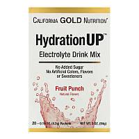 California Gold Nutrition, HydrationUP, смесь для приготовления электролитического напитка, фруктовый пунш, 20 пакетиков по 4,2 г (0,15 унции), фото 1