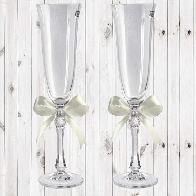 Свадебные бокалы, 2 шт, айвори бант, арт. WG-000002-12