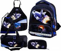 Рюкзак ортопедический школьный каркасный для мальчика 1-4 класс сумка+сменка+пенал+фартук Delune 9-126 FullSet