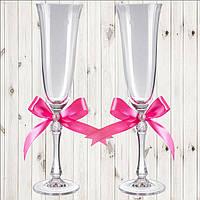 Свадебные бокалы, 2 шт, розовый бант, арт. WG-000002-15