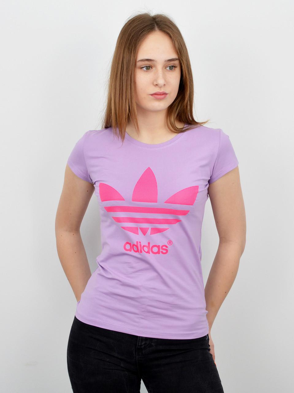 Спортивная женская футболка оптом V0120 светло лиловый+розовый
