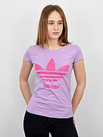 Спортивная женская футболка оптом V0120 светло лиловый+розовый, фото 1
