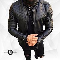 Мужская кожаная куртка\кожанка Slim Fit 5 размеров