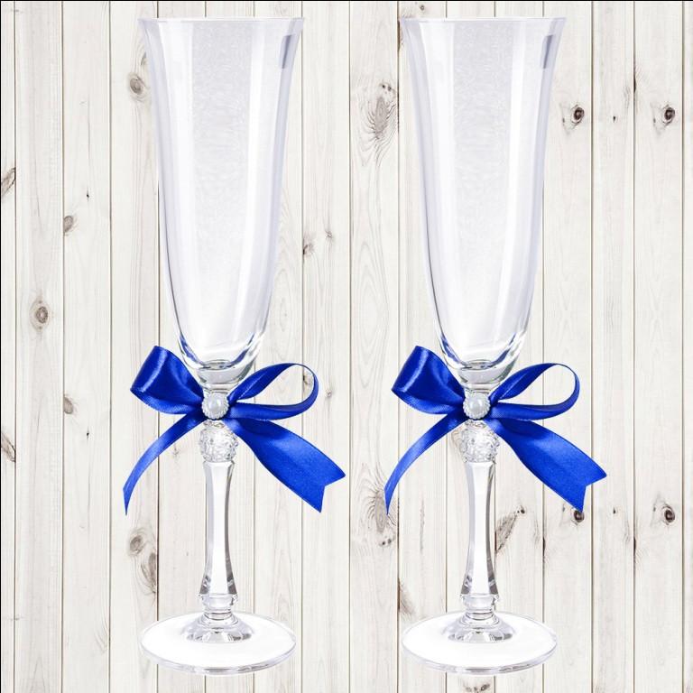 Свадебные бокалы, 2 шт, синий бант, арт. WG-000002-21