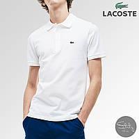 Футболка поло Lacoste x white мужская   Мужская футболка приталенная Лакоста ЛЮКС качества