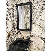 Прямоугольное черное зеркало с подсветкой в ванную/прихожую Black Silvia