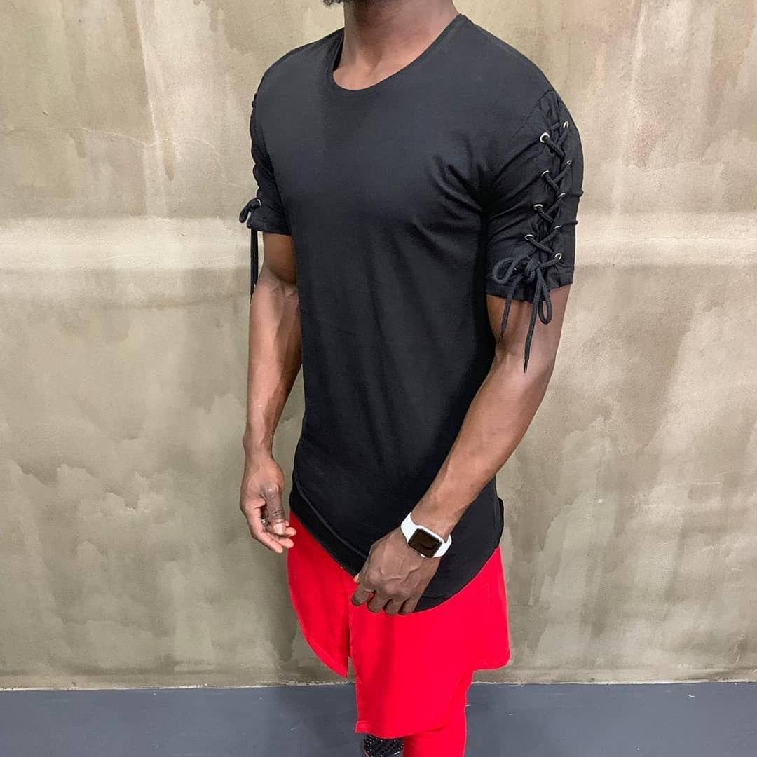 😜 Футболка - Мужская футболка черная с завязками на плечах
