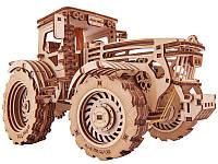 Трактор 00023 - деревянный 3D пазл Wood trick (механический деревянный конструктор)