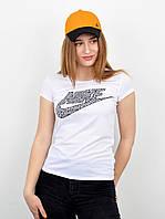 Спортивна жіноча футболка оптом 100% бавовна V0220 белий+темний сірий, фото 1