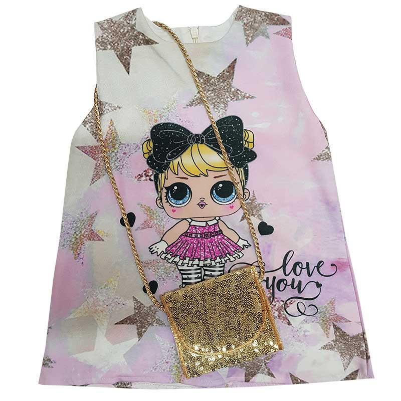 Платье трикотажное с куколкой  LOL + сумочка 62-74 (3-9 месяцев)