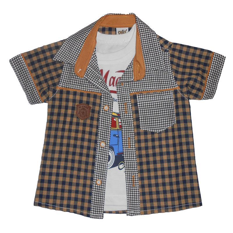 Рубашка с коротким рукавом на мальчика 1-4 года(86-104) 113 +футболка