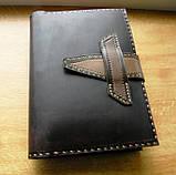 Шкіряна папка органайзер для планшета, смартфона, документів, з пеналом для ручок, щоденника, ручної роботи, фото 2