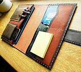 Шкіряна папка органайзер для планшета, смартфона, документів, з пеналом для ручок, щоденника, ручної роботи, фото 8
