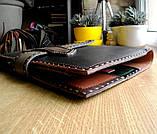 Шкіряна папка органайзер для планшета, смартфона, документів, з пеналом для ручок, щоденника, ручної роботи, фото 6