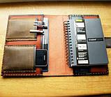 Шкіряна папка органайзер для планшета, смартфона, документів, з пеналом для ручок, щоденника, ручної роботи, фото 5
