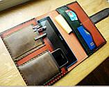 Шкіряна папка органайзер для планшета, смартфона, документів, з пеналом для ручок, щоденника, ручної роботи, фото 3