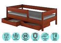 Кровать детская с бортиком и выдвижными ящиками  LukDom Mix Темный орех 180х80