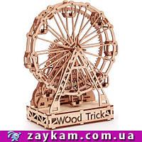Механическое колесо обозрения 0002A - деревянный 3D пазл Wood trick (механический деревянный конструктор)