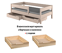 Кровать для ребенка с выдвижными ящиками LukDom Mix Беленый дуб 180х80