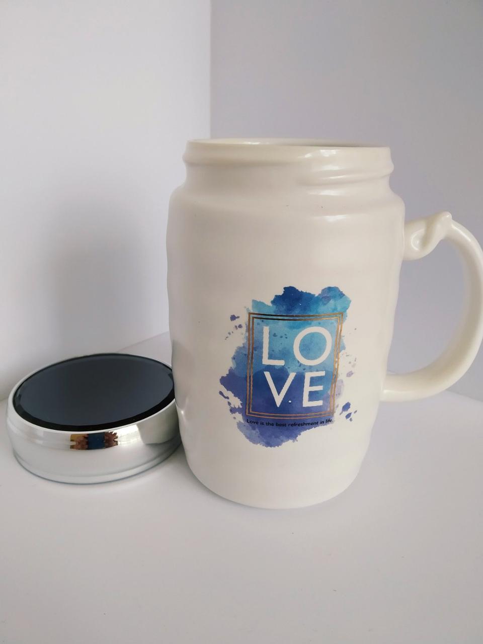 Керамічна чашка з дзеркальною термокрышкой Love