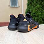 Мужские летние кроссовки Adidas (черно-оранжевые) 10149, фото 2