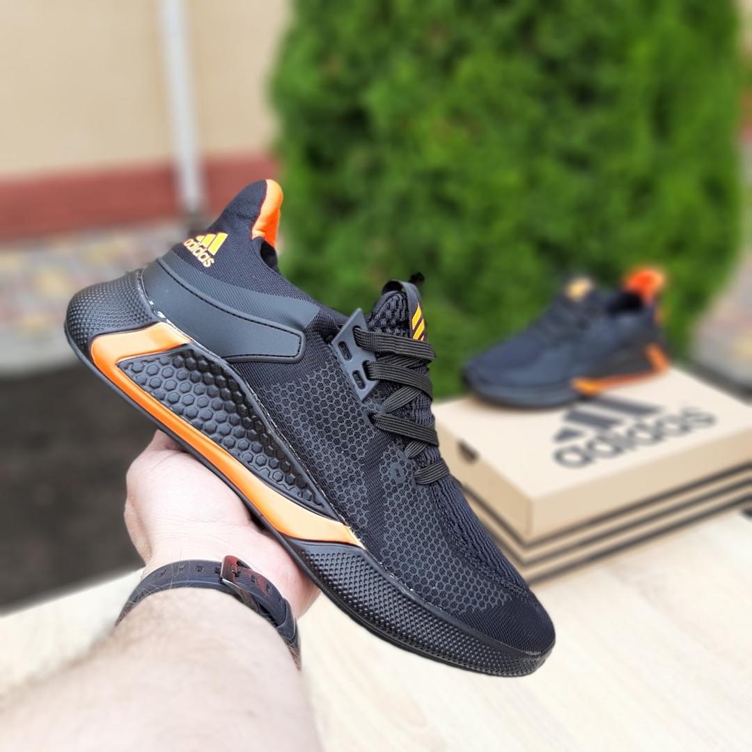 Мужские летние кроссовки Adidas (черно-оранжевые) 10149