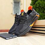 Мужские летние кроссовки Adidas (черно-оранжевые) 10149, фото 5