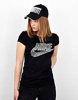 Спортивная женская футболка оптом V0220 черный, фото 1