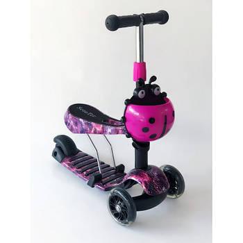 Самокат-беговел 2 в 1 Scooter Pro PP3 Божья Коровка | Фиолетовый