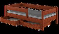 Детская подростковая кровать с ящиками и матрасом LukDom Mix Темный орех 200х90