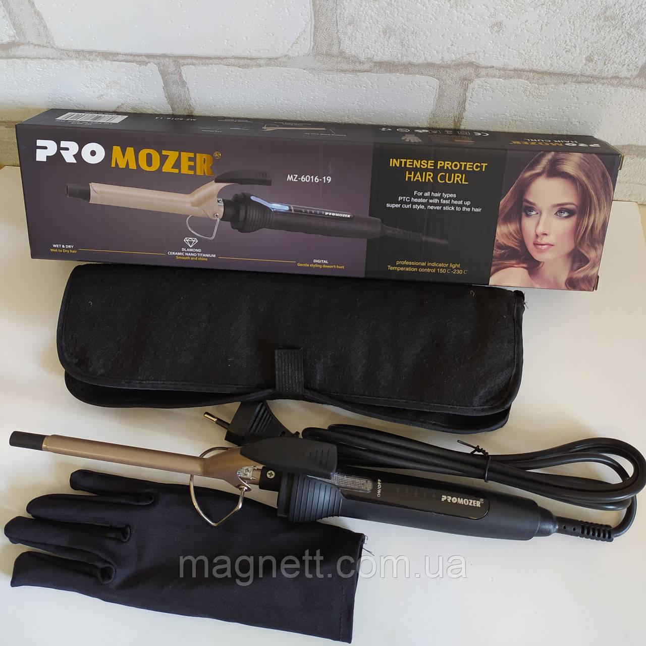 Тонкая плойка для волос Pro Mozer MZ-6016-19 с чехлом и перчаткой афрокудри