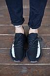 Мужские кроссовки Adidas Yeezy Boost 350 V2 Black White черные (рефлективная полоска). Фото в живую. Реплика, фото 2